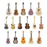 传染媒介套在平的样式的吉他 库存照片