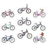 传染媒介套在平的样式的自行车 免版税库存图片
