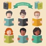 传染媒介套在时髦平的样式的不同的人阅读书app象 免版税库存照片