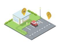 传染媒介套城市元素,停车场geo标记别针象,咖啡店 库存照片