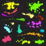 传染媒介套墨水飞溅污点泼溅物汇集难看的东西设计元素和艺术杂乱背景颜色肮脏的液体 免版税图库摄影
