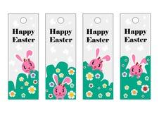 传染媒介套复活节书签 复活节快乐,桃红色兔子 免版税库存照片