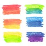 传染媒介套彩虹水彩横幅 向量例证