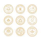 传染媒介套徽章和标签自然和有机化妆用品的 皇族释放例证