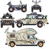 传染媒介套旅行和狩猎的陆地交通工具在平的设计 免版税库存照片