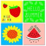 传染媒介套明亮的夏天卡片 向量例证