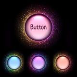 传染媒介套明亮的颜色发光的按钮 免版税库存照片