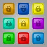 传染媒介套有锁的按钮 免版税库存照片