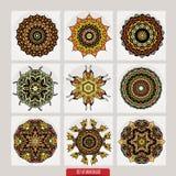 传染媒介套根据传统亚洲装饰品的无刺指甲花花卉元素 佩兹利Mehndi乱画汇集 免版税图库摄影