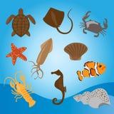 传染媒介套海洋动物 免版税图库摄影