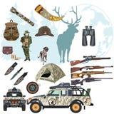 传染媒介套狩猎鹿平的样式设计元素 免版税库存照片