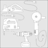 传染媒介套电动工具-概述剪影 库存图片