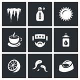 传染媒介套疾病象 冷却,温度,热,医学,头疼,鼻下落,柠檬,水蛭,腹泻 向量例证