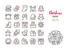 传染媒介套稀薄的线象圣诞节和新年 免版税库存图片