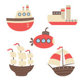 传染媒介套船,火轮,潜水艇 向量例证