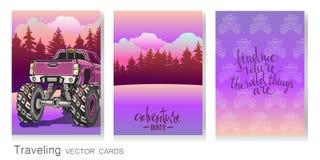 传染媒介套艺术性的五颜六色的卡片 动画片巨型卡车,平衡风景、样式和书法 免版税库存图片