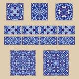 传染媒介套葡萄牙瓦片和边界 色的样式的汇集设计和时尚的 免版税库存图片