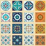 传染媒介套葡萄牙瓦片 设计和时尚的美好的色的样式 免版税库存照片