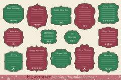 传染媒介套葡萄酒圣诞节框架 库存照片