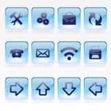传染媒介套蓝色苍白玻璃方形的按钮 免版税库存图片