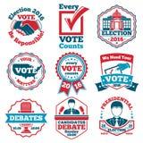 传染媒介套表决标签和徽章竞选的,辩论 库存照片