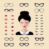传染媒介套装饰用不同的妇女睫毛,玻璃,在平的样式的嘴唇的建设者 女性面对象创作者 向量例证