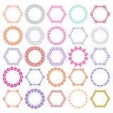 传染媒介套部族五颜六色在周围和设计的六角形装饰框架 阿兹台克装饰样式 库存图片