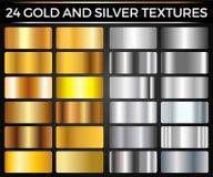 传染媒介套金和银梯度、金和银正方形汇集,构造小组 免版税图库摄影