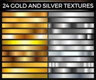 传染媒介套金和银梯度、金和银正方形汇集,构造小组 图库摄影