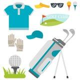 传染媒介套风格化高尔夫球象爱好设备汇集推车高尔夫球运动员球员体育标志 免版税库存图片