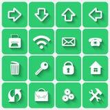 传染媒介套鲜绿色平的样式正方形按钮 免版税图库摄影