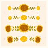 传染媒介套水平的花饰 免版税库存图片