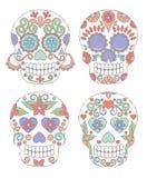 传染媒介套水彩死的头骨的样式天 向量例证