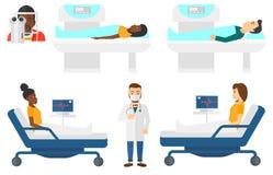 传染媒介套医生字符和患者 免版税库存照片