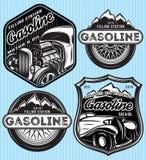 传染媒介套给的汽油做广告徽章 库存例证