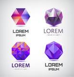 传染媒介套紫色水晶,雕琢平面的商标 向量例证