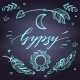 传染媒介套Boho在书法上写字的样式元素发短信 纹身花刺模板 时髦手拉的部族吉普赛标志收藏 库存图片