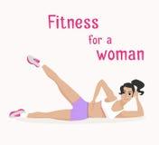 传染媒介女孩做在说谎的位置的腹肌锻炼 库存图片