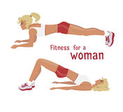 传染媒介女孩做板条锻炼,妇女制定出腹肌 免版税图库摄影