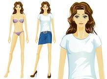 传染媒介女性T恤杉时装模特儿(亚洲) 免版税库存照片