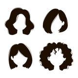 传染媒介妇女发型剪影 库存例证