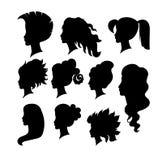 传染媒介妇女异乎寻常的手拉的理发剪影构成 免版税库存图片