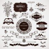 传染媒介婚礼设计元素和书法页装饰 免版税库存图片