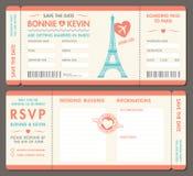 传染媒介巴黎婚礼邀请票 免版税库存照片