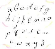 传染媒介字母表小写写与刷子 免版税图库摄影