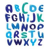 传染媒介字母表蓝色泡影设置了例证 免版税库存图片