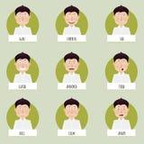 传染媒介字符的九张动画片情感面孔 免版税图库摄影
