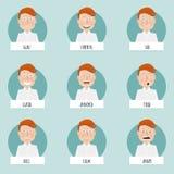 传染媒介字符的九张情感面孔 库存照片
