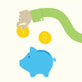 传染媒介存钱罐和手有硬币的 免版税图库摄影