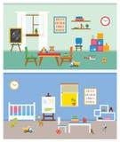 传染媒介-学龄前操场 与玩具的儿童的桌, 免版税库存图片